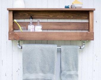 Manchester Rustic Farmhouse Industrial Bathroom Shelf with Towel Rack