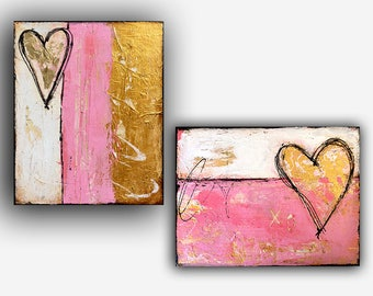 LOVE ART set of two/Gold rustic Pink and white
