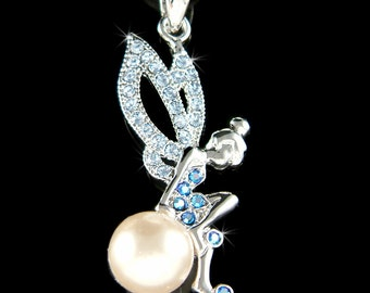 Swarovski Crystal Baby Blue Pearl Tinkerbell Tinker Bell Pixie Magic Fairy Charm Pendant Necklace Christmas Best Friend Birthday Gift NEW
