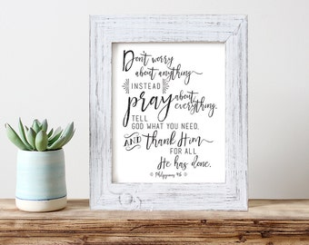 Art Print -- Philippians 4:6 // Inspirational Verse Wall Art // Bible Verse Art Print // Scripture Art Print // Don't worry print
