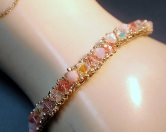 Sworavski Pink Crystals and Silver Seedbeads Bracelet