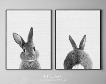 rabbit print set, baby animal print, bunny, Woodlands Nursery Art, butt print, black and white, printable , nursery woodlands bunny print