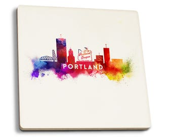 Portland, OR - Skyline Abstract - LP Artwork (Set of 4 Ceramic Coasters)