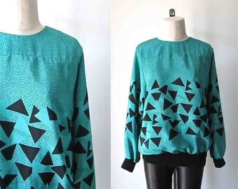 Vintage 1980's blouse teal and BLACK TRIANGLE silky top - M/L