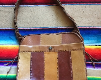 Multi colored Leather Tote Vintage 1970s
