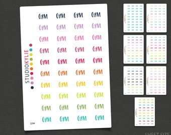 Gym Stickers - Planner Stickers -Repositionable Matte Vinyl to suit all planners - Word Planner Stickers