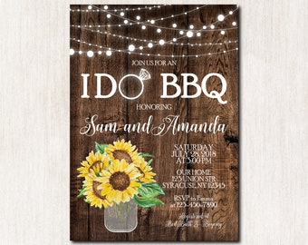 Sunflowers I Do BBQ Invitation, I Do bbq Wedding Shower, I Do bbq Couples Shower Invitation, Bridal Shower, Engagement Invitation - 1822