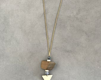 Gold triangle pendant necklace, big wood bead pendant, long boho triangle necklace.