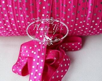 "Shocking Pink /Metallic SILVER Foil : Polka Dots Fold Over Elastic Printed. Aztec foe - 5/8"" foe 2, 5 or 10 Yards. DIY Headband Supplies"