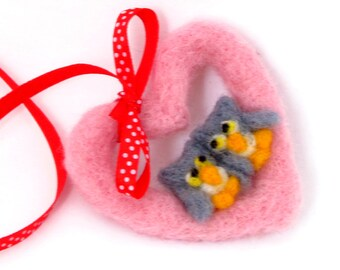 Owl ornament, Valentines day Pink heart ornament, needle felted heart wreath