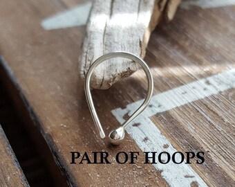 Pair of 20g Argentium Silver Teardrop Hoops, Artisan Earrings, Cartilage or Lobe, Hammered Arc Ball Hoops,