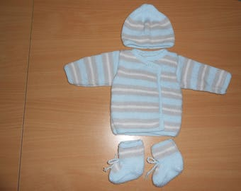 Kit baby boy hat, jacket and booties