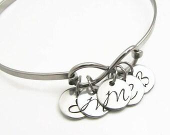 Personalized Bracelet, Personalized Mom Jewelry, Hand Stamped Jewelry, Personalized Initial Bracelet, Personalized Infinity Bracelet for Mom