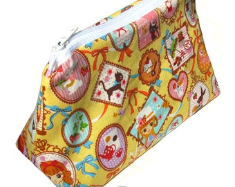 JULY PREORDER Cosmetic pouch bag with yellow lolita doll cute picture frames stamps make up case gift bag travel kit toiletry zipper