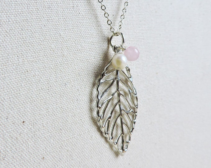 Silver Skeleton Leaf, Rose Quartz & Freshwater Pearl Drop Pendant Necklace - Long Silver Necklace