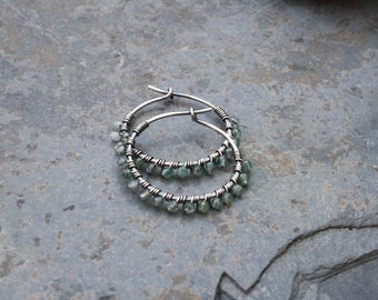 Sterling Silver Hoops, Moss Agate, 7/8 inch hoops, Oxidized Sterling, Wire Wrapped Hoops, Boho Hoops, Lightweight Earrings, Stone Hoops