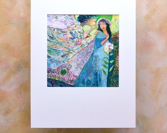 Annunciation of Jesus by the Angel Gabriel Art Print, Catholic Biblical Wall Art, Blessed Mother