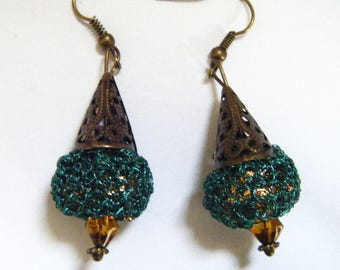 Crocheted green and gold metal earrings.