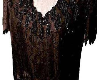 Vintage Black Evening Blouse with Sequins and Beading 1980's - Size Medium