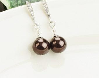 Brown Earrings - Bridesmaids Earrings - Pearl Drop Earrings - Bridesmaid Jewelry - Wedding Jewelry - Silver Dangle Earrings - Pearl Jewelry