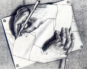 "M.C. Escher Drawing Hands art poster reproduction canvas print illusion optical Illusion art  giclee 16,5""х11.7"", 8.3""х11.7"""