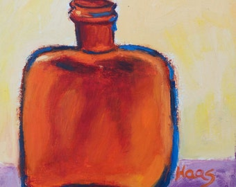Fine Art Original Oil Painting Artwork Amber Bottle Gift for Art Lovers Bottle Collector Gifts for Her for Him Rustic Chic Honeystreasures