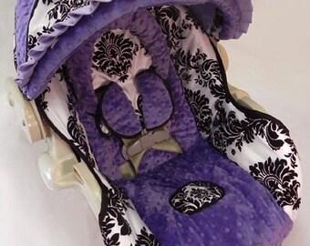 Custom Boutique London Purple Infant Car Seat Cover 5 piece set