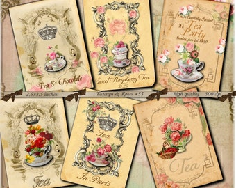 Instant Download  - 2.5 x 3.5 - ACEO -  TeaCups and Roses No. 55-  Printable Digital Collage Sheet - Digital Download