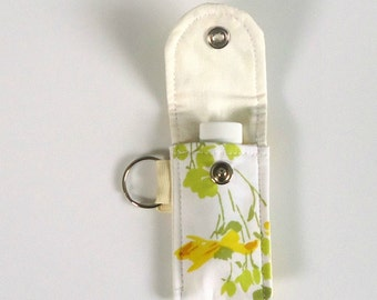 Lip Balm Case, Lip Balm Keyring from Vintage yellow fabric, Vintage floral, gift for her, under 10 dollars, Vegan, Sustainable, Mother's day
