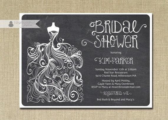 Chalkboard Bridal Shower Invitation Gown Sketch Black White