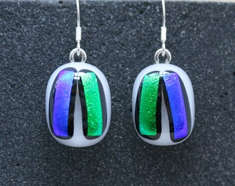 Sterling Silver and Fused Glass Drop Earrings_ Cherry Line