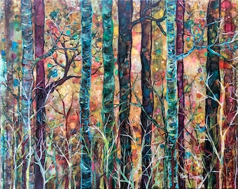 Dream Forest at Dusk: Fine Art Print from mixed media painting