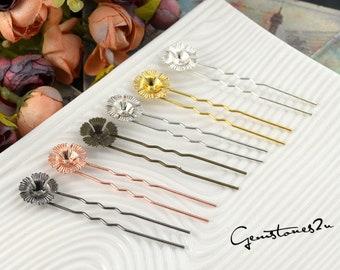 20pcs Brass Cameo Setting Hair Pins, Wedding Hair Pins, Prom Hair Pins, U Shape Filigree Flower Hair Clips Wedding -- 6 Colors available