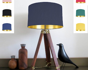 Bespoke lampshade 22 fabric colours with Gold Mirrored Metallic Lining