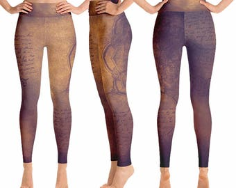 Yoga Tights, Yoga Leggings, Yoga Pants, Leggings, Printed Leggings, Workout Leggings, Womens Leggings, XS S M L XL