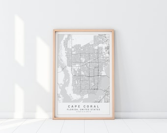 Map of cape coral Etsy