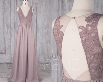 Bridesmaid Dress Rose Gray Chiffon Dress,Wedding Dress,V Neck Maxi Dress,Illusion Lace Open Back Prom Dress,Long A-Line Formal Dress(L476)
