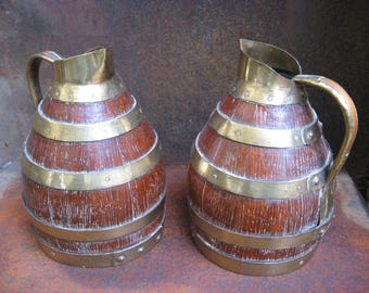French Cooper Barrel Jugs brass fittings. Beautifully crafted artisan decorative pair, or single, kitchen bar decor. Wine lover Wedding gift