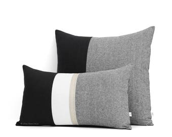 Black Chambray Decorative Pillow Cover Set of 2 with Gold Stripe: 12x20 and 20x20 by JillianReneDecor - Black and White Colorblock Pillows