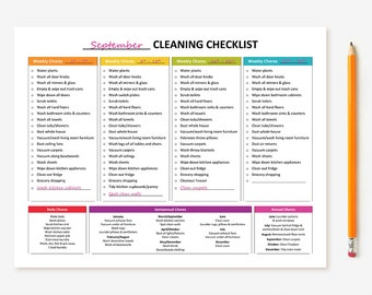 Printable Monthly Cleaning Checklist