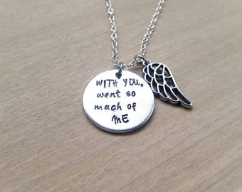 Memorial necklace - Loss Jewelry - Hand stamped necklace - For Her - Gift for her - Necklace - Stocking stuffer - Bereavement - Memory gift