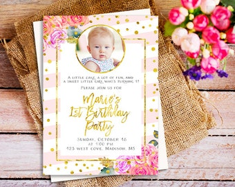 pink and gold first birthday invitation with picture, pink and gold first birthday invite with photos, Gold Glitter first birthday with pic