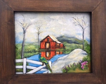 Reflections Folk art framed painting original art with country red barn and white picket fence