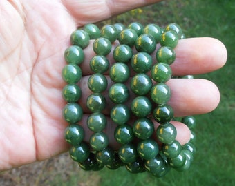Canadian High Grade Bright Green Nephrite Jade Round Beads Bracelet
