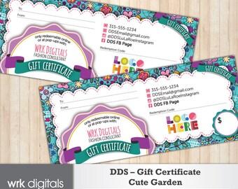 Dot Dot Smile Gift Certificate, Cute Garden Design, Fashion Consultant, Direct Sales, PRINTABLE