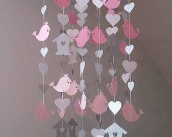 Pink bird mobile. Bird mobile. Birds girl mobile. Decorative mobile. Handmade mobile. Baby girl mobile.