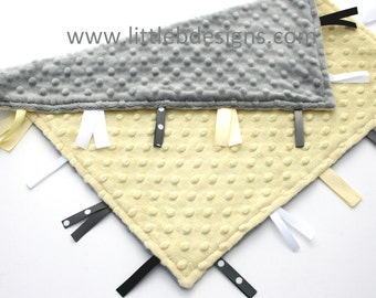 Personalized Baby Tag Blanket Ribbon Lovey - Yellow and Gray Minky