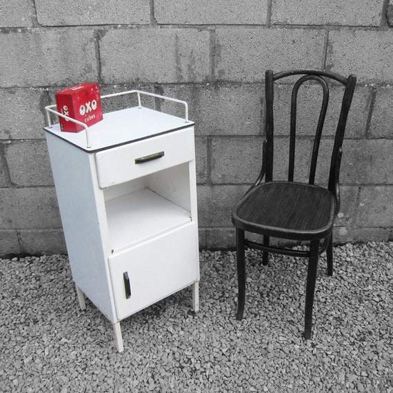 Mid Century Industrial Cabinet Metal Bedside White