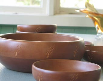 Baribocraft 7 Piece Salad Bowl Set with Wheat Pattern