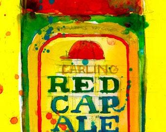 Red Cap Ale-Vintage - 2016 Beer Art Print from Original Watercolor  - Beer Bottle Art- Man Cave